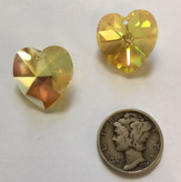 Vintage Swarovski 18mm Light Topaz AB Glass Heart Pendants - Set of 2