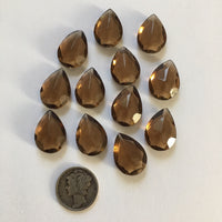 Dark Topaz Brown (12) Twelve 18x13mm Double Faceted Teardrop Glass Jewels for Stained Glass