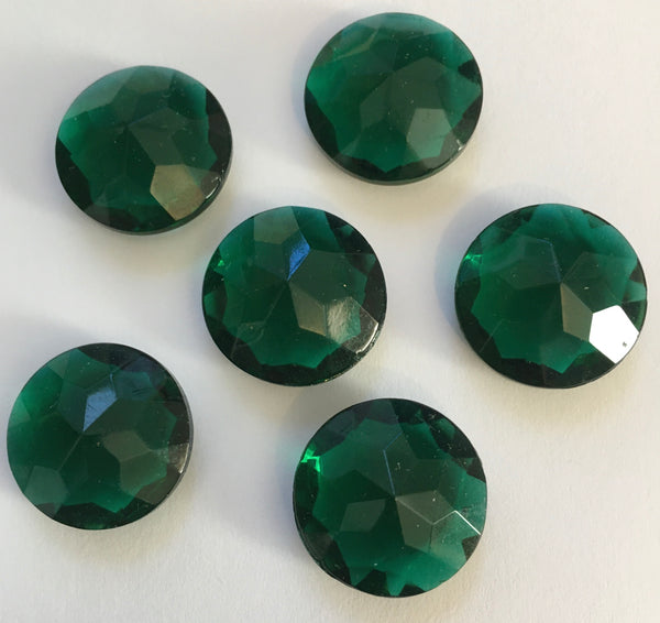 Vintage 20mm Dark Emerald Green (5) Five Double Faceted Glass Jewels