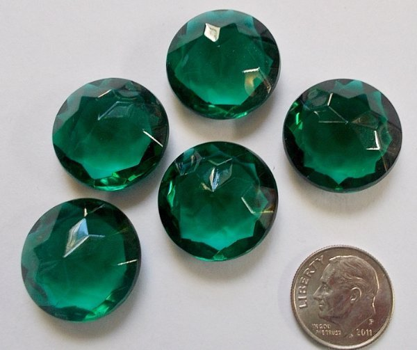 Rare Vintage 20mm Dark Emerald Green (5) Five Triple Faceted Glass Jewels - Beautiful!