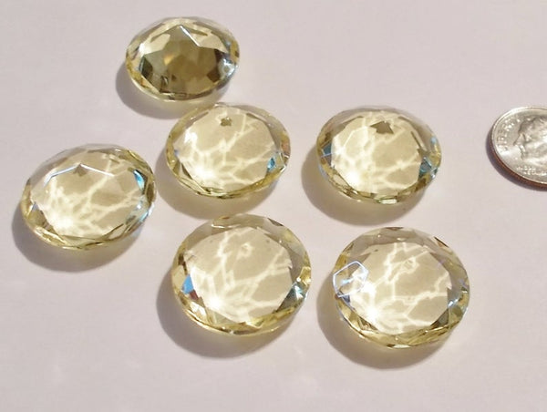 Rare (6) Vintage 20mm 'Jonquil' Pale Yellow Triple Faceted Glass Jewels for Stained Glass and Lead