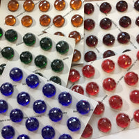 High Dome 20x10mm Round Faceted Glass Jewel - 6 colors available!