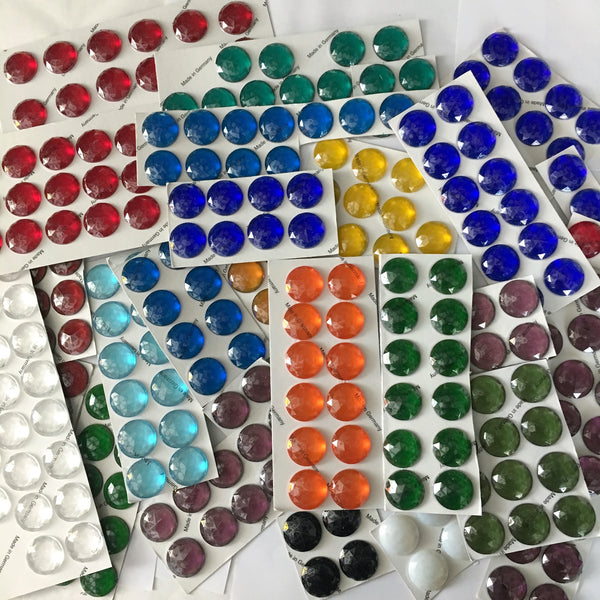 "Two (2) Round 25mm (1"") Faceted Glass Jewels for Stained Glass and Lead - 18 Colors available!"