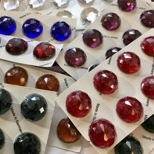High Dome 27x12mm Round Faceted Glass Jewel - 7 colors available!