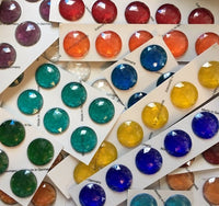 30mm Faceted Glass Jewels for Stained Glass ~ 19 Colors Available!!