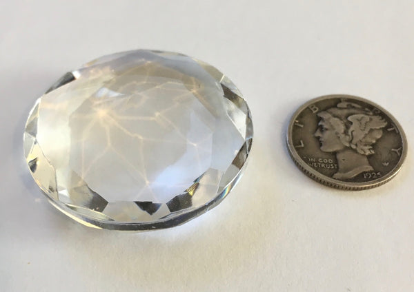 32mm Vintage Clear Round Double Faceted Glass Jewel - Beautiful!