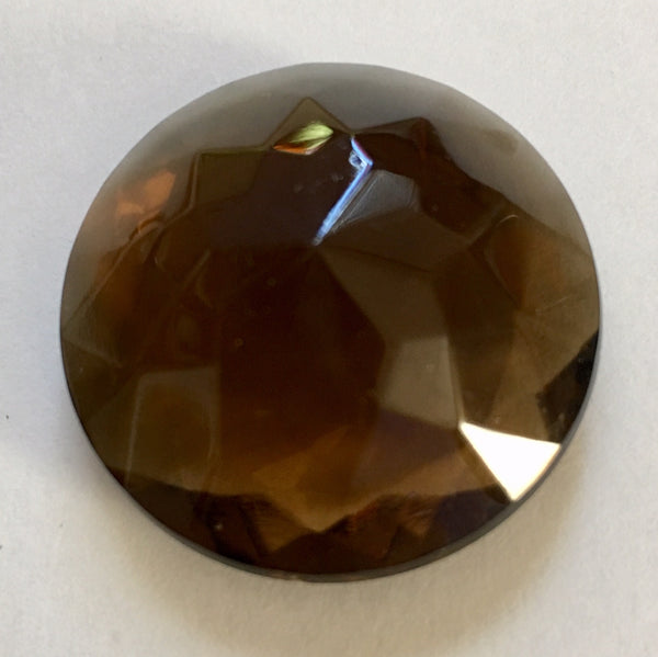 32mm Vintage Dark Topaz Brown Round Double Faceted Glass Jewels
