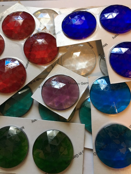 Large 40mm Faceted Glass Jewels for Stained Glass - Twelve (12) Colors Available!