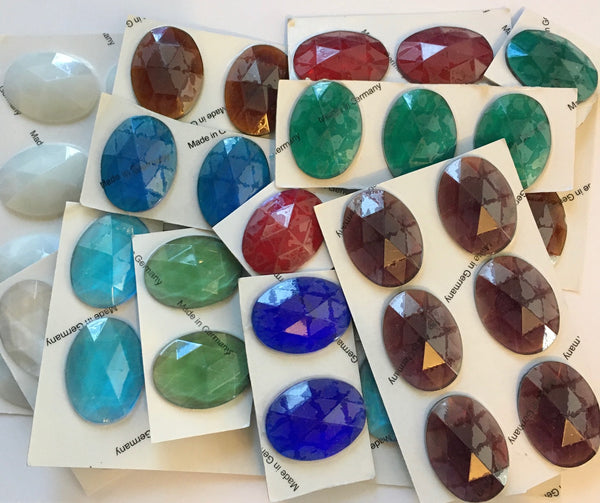 Oval 40x30mm Flat Backed Faceted Glass Jewel Stained Glass - 16 Colors Available!