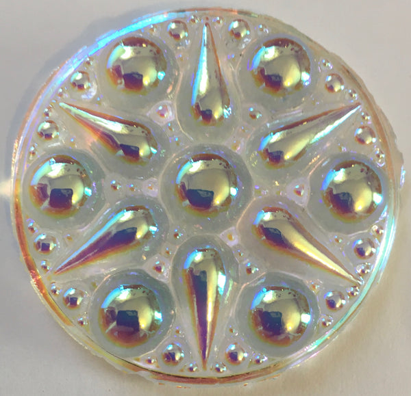 Large 42mm Fancy Round Specialty Cast Glass Jewel - Available in 5 Colors!