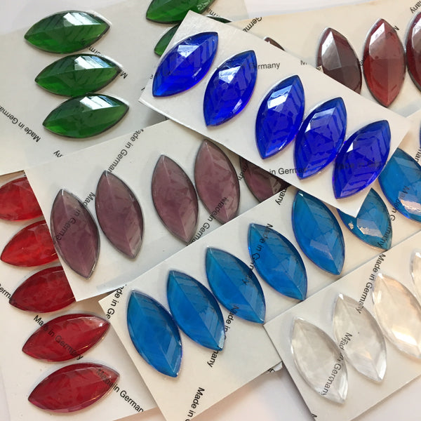 42x20mm Pointed Navette Faceted Stained Glass Jewel - 8 colors available!