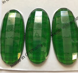 Oval 45x20mm Flat Backed Faceted Glass Jewels for Stained Glass - Seven (7) Colors!