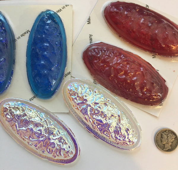 Large 75x35mm Oval Lava Cast Glass Jewels - Available in Clear AB, Red and Turquoise!