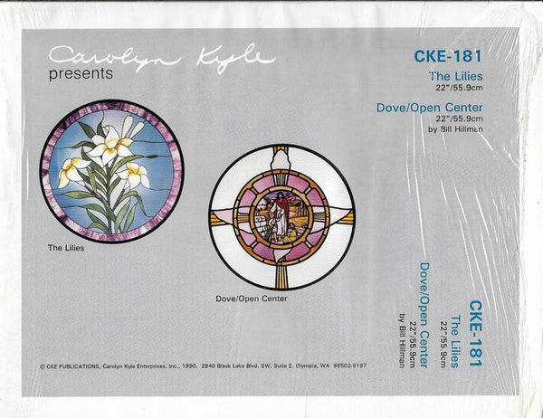 OOP 1990 CKE-181 'The Lilies' & 'Dove/Open Center' Stained Glass Pattern Set NIP Religious Church Series