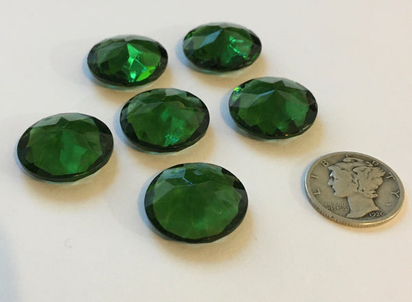 Vintage 18mm Tourmaline Green Double Faceted Glass Jewels - Set of Six (6)