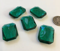 (5) Vintage 25x18mm Rectangle Octagon Emerald Green Double Faceted Glass Jewels