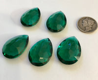 Vintage 25x18mm Emerald Green Pear Teardrop (5) Double Faceted Glass Jewels