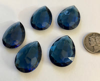 Vintage 25x18mm Montana Blue Pear Teardrop (5) Double Faceted Glass Jewels