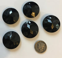 Vintage Five (5) Round 25mm Jet Black Opal Double Faceted Glass Jewels