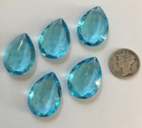 Vintage 25x18mm Aquamarine Blue Pear Teardrop (5) Double Faceted Glass Jewels