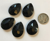 Vintage 25x18mm Jet Black Opal Pear Teardrop (5) Double Faceted Glass Jewels