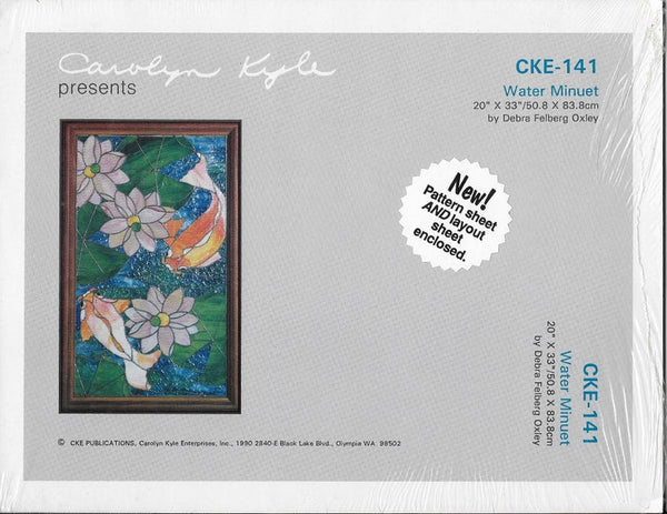 OOP 1990 CKE-141 'Water Minuet' Koi Fish Lilypad Stained Glass Pattern Set NIP