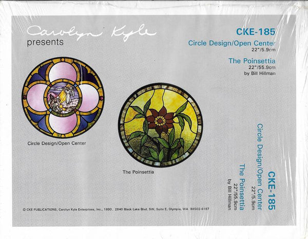OOP 1990 CKE-185 'Circle Design/Open Center' * 'The Poinsettia' Stained Glass Pattern Set NIP Religious Church Series