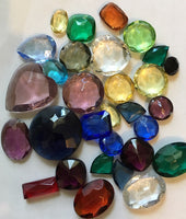 1/4 lb Lg. Vintage Double Faceted Glass Jewel Asst. for Stained Glass, Leaded Windows and Jewelry