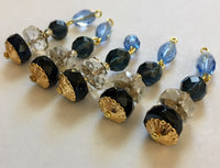 Vintage Montana Blue, Light Sapphire and Crystal 41mm Glass Bead Pendants (5) - Beautiful!