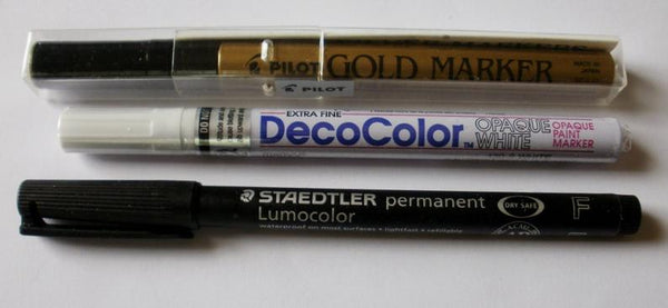 Glass Pens Marker Set - One each: Gold, White and Black - Extra Fine Point - Perfect for Stained Glass