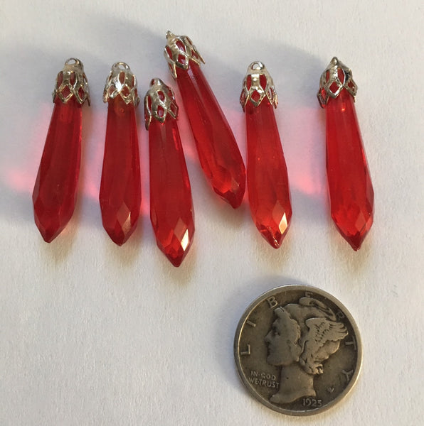 Vintage 27mm Red Faceted Glass Prism Pendants with Cap (6) - Beautiful!