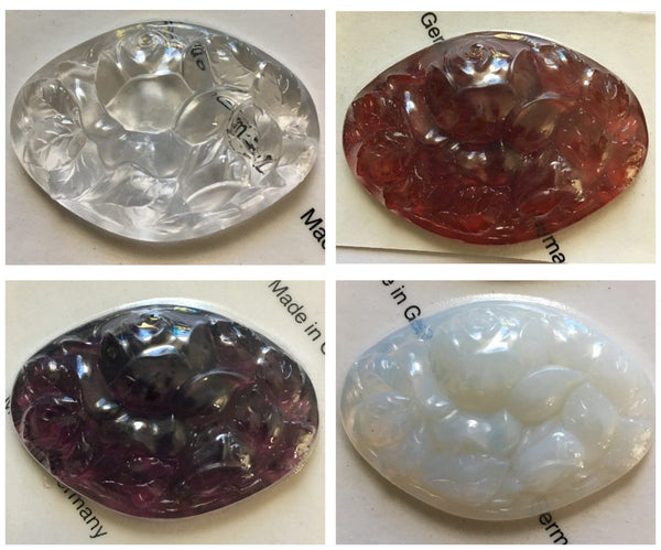 Large 52x36mm Cut Oval Rose Glass Jewel Stained Glass - Four (4) Colors Available!