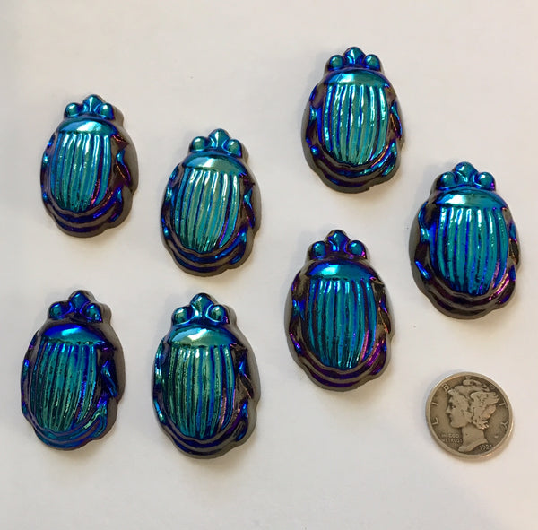 Iridescent Iris Rainbow Glass Scarab Beetle Jewel 36x19mm - Seven colors available!