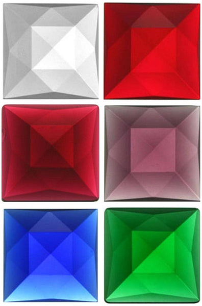 Square 30mm Faceted Glass Jewel - 8 Colors Available! - Stained Glass and Leaded Projects