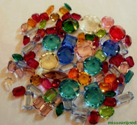 Vintage Exquisite (1) Ounce Machine Cut Glass Small Jewel Assortment (2mm- 14mm)