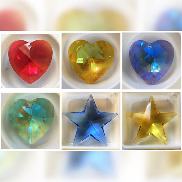 Large Vintage 28mm Swarovski Crystal Heart and Star Glass Pendants - Six colors available!