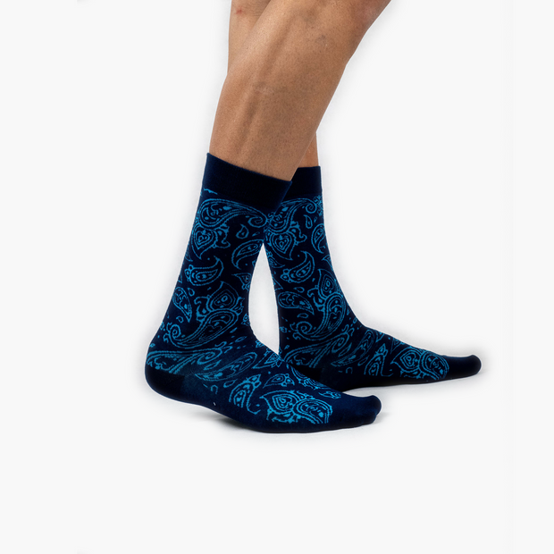 Blue Paisley Combed Cotton Crew length Swanky Socks