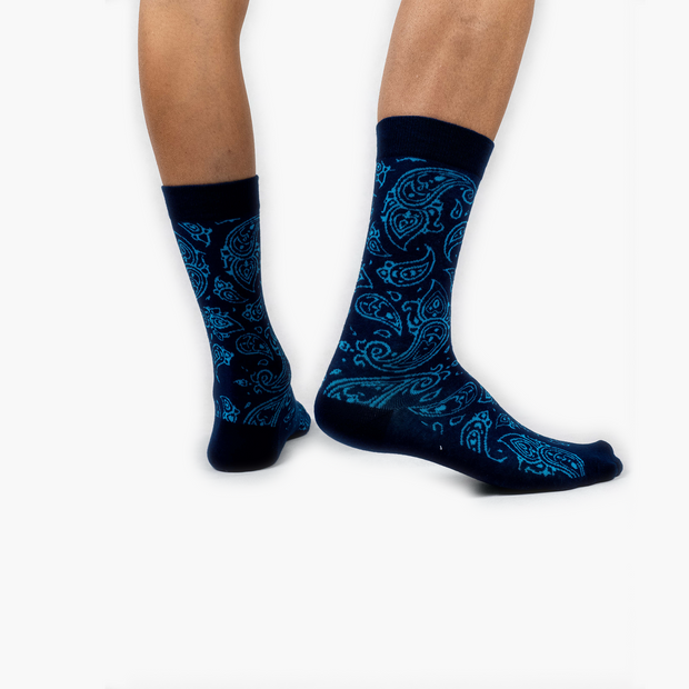 Paisley Combed Cotton Crew Length Swanky Socks 2 Pack