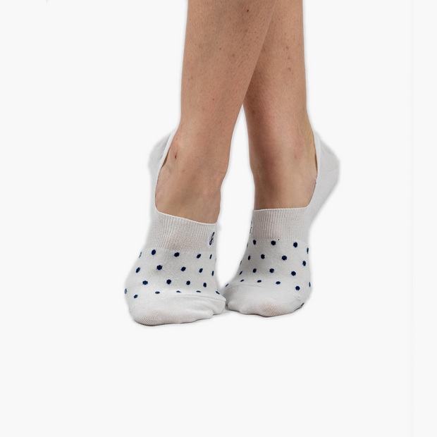 3 Pack off-white and Navy Polka Dot Combed Cotton No-Show Swanky Socks