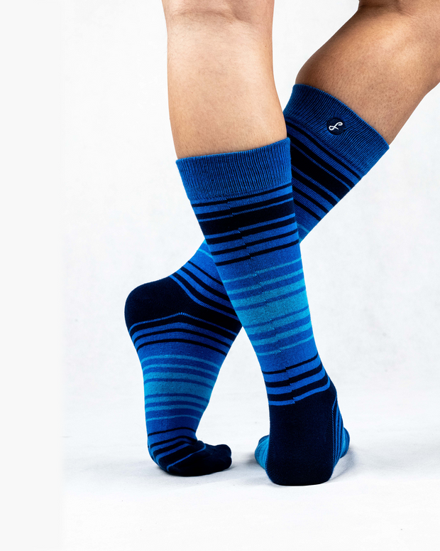 Multi Stripe Combed Cotton Crew Length Swanky Socks 3 Pack