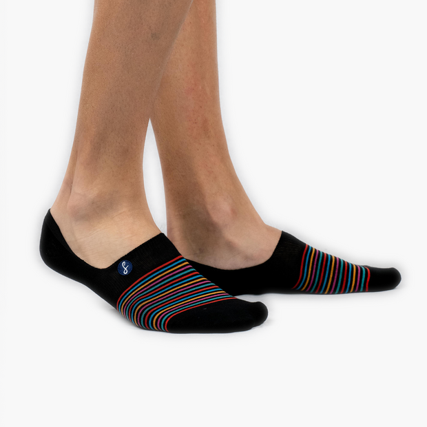 Black Multi-Striped Combed Cotton No-Show Swanky Socks