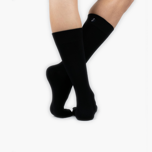 Black Bamboo Crew Length Swanky Socks 3 Pack