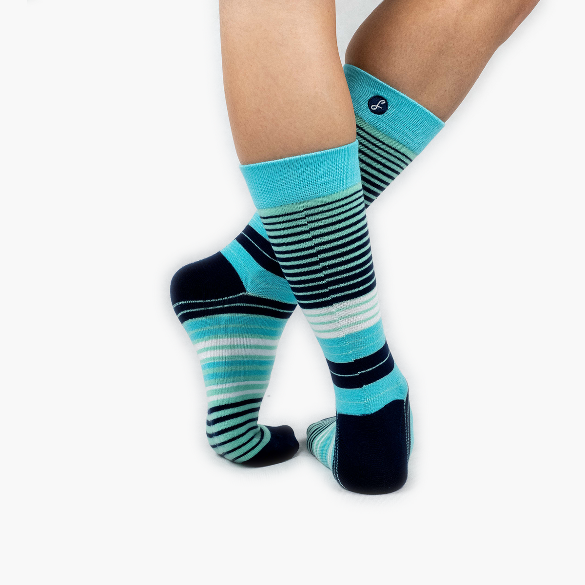 Teal Multi Striped Bamboo Crew Length Swanky Socks - SwankySocks