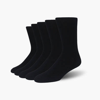 Black Bamboo Crew Length Swanky Socks 5 Pack