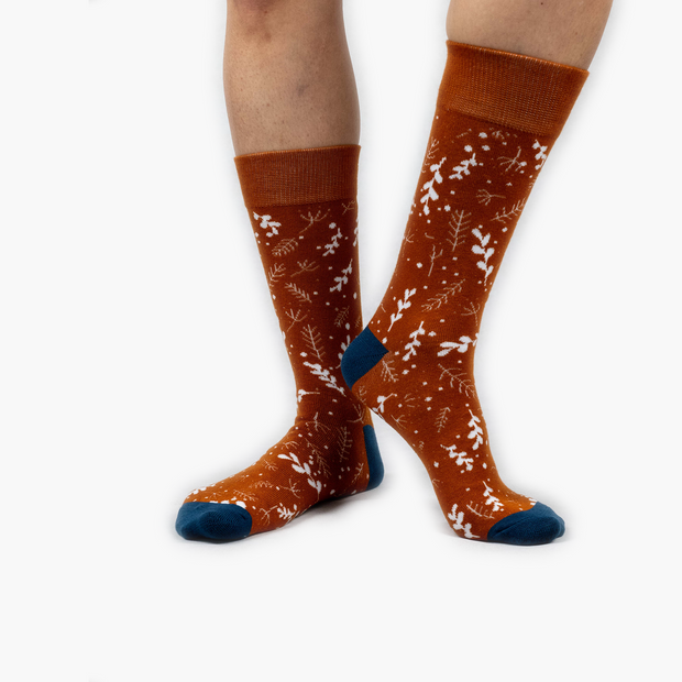 Burnt Orange Winter leaves Bamboo Crew Length Swanky Socks