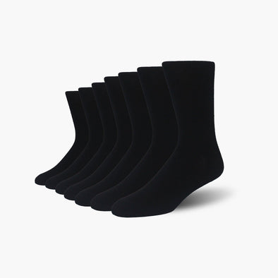 Black Bamboo Crew Length Swanky Socks 7 Pack - SwankySocks
