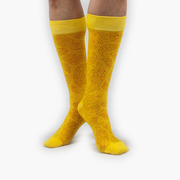 Yellow Paisley Combed Cotton Crew Length Swanky Socks
