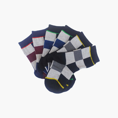 3 Pack Organic Cotton Charcoal, Navy and Maroon Checkered Square Baby Swanky Socks - SwankySocks