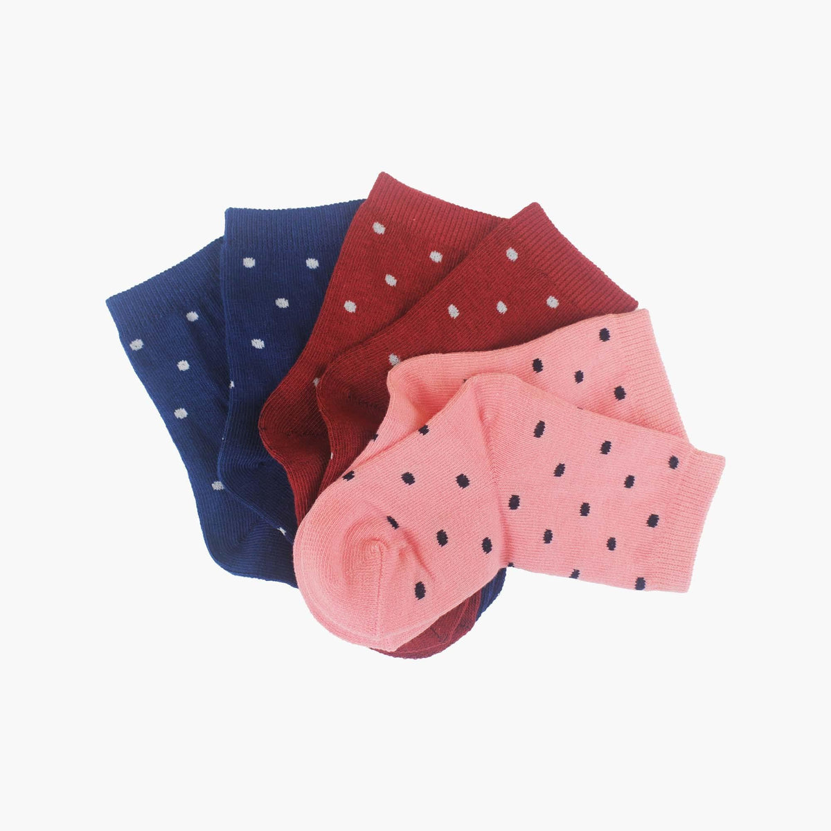 3 Pack Organic Cotton Pink. Navy and Red Polka Dot Baby Swanky Socks - SwankySocks