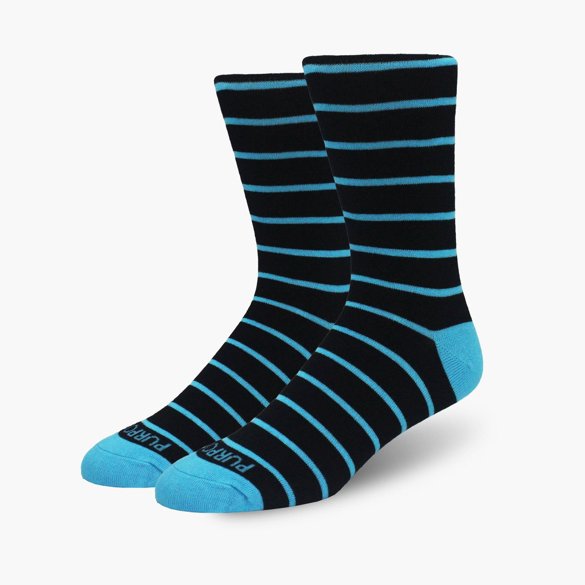 Blue Striped Bamboo Crew Length Swanky Socks - SwankySocks